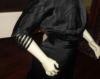 RARE Antique Authentic  Titanic Victorian Gown Amazing Condition. Nearly Mint 1900's Black Silk Charmeuse