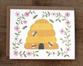 Farm to Table Honey Bee Illustrated Card