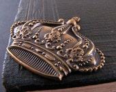 Royal Crown antiqued brass stamping