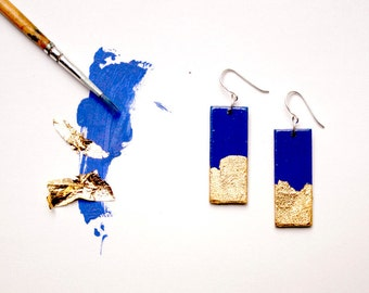 Hand painted earrings. Gold, bright blue. Sterling silver.