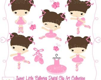 Sweet Little Ballerina, Children  Digital Clipart, clip art collection