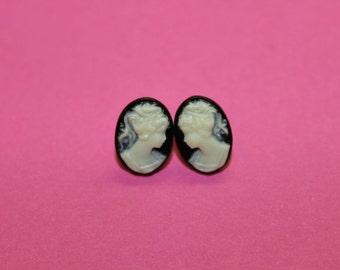 Tiny Black Victorian Lady Cameo Earrings