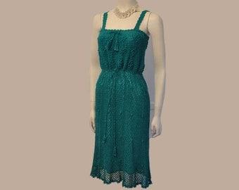 70s dress / Vintage 1970's Boho Lillie Rubin Crochet Dress