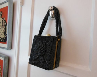 50s purse / Vintage 1950's Heavily Beaded Box Purse