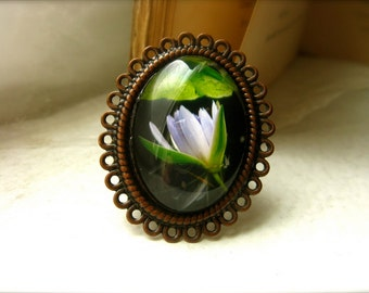 Water Lily Flower Statement Ring - Floating Flower