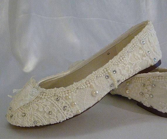 Wedding Ballet Flats Lace Bridal Shoes
