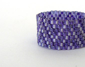 Purple Beadwork Ring Chevron Pattern Beaded Modern Jewelry Native American Inspired Peyote Bead Woven Band