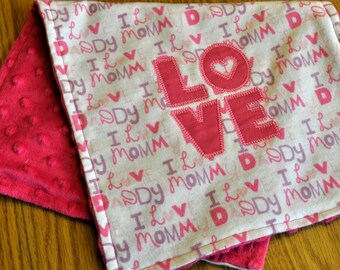 """Reversible flannel and minky  """"Love"""" burp cloth"""