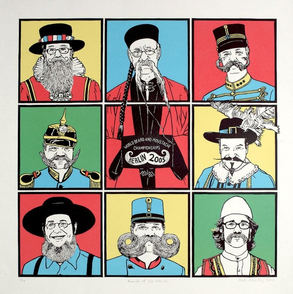 Beards of the World - Linocut and screenprint
