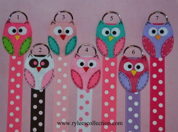 Set of 2 - Owl Hair Bow Holder with Polka Dot ribbon - You pick your favorites
