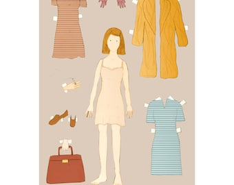 The Margot Tenenbaum paper doll 12x18 inches print