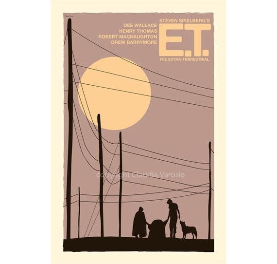 Movie poster retro print E.T.: The Extra-Terrestrial 12x18 inches