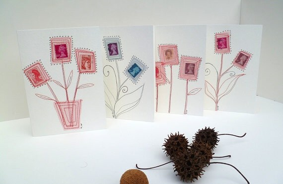 Set of four unique mixed media art cards as seen in Somerset Studio Gallery Summer 2012