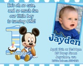 Mickey Mouse 1st Birthday Invitations (Baby Mickey Mouse 1st Birthday) with cupcake topper