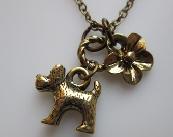 Dog Necklace, Dog Charm, Puppy Dog, Scottie Dog, Scottish Terrier Scottie Charm Necklace, Antique Gold, Pet Lovers, Dog Lovers Necklace