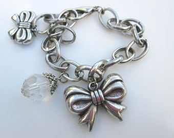 Bow Charm Bracelet in Antique Silver Finish, Bridesmaid Gift, Tie The Knot