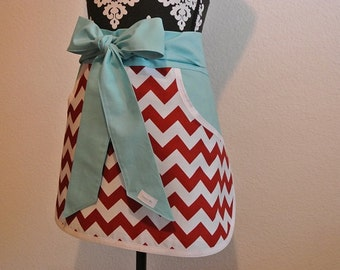 Red Chevron with Teal Pockets and Ties Adult Half Apron