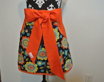 Navy with Yellow/Orange/Green/Teal Adult Half Apron with Pockets