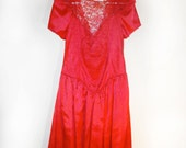 Vintage 80s Red Lace Prom Dress