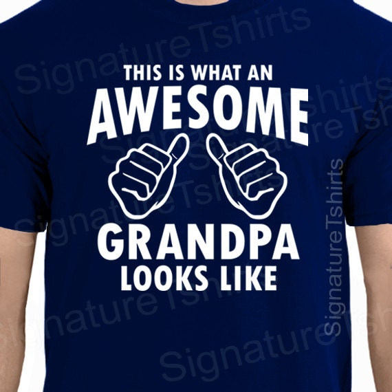 Fathers Day Gift AWESOME GRANDPA Mens T-shirt Gifts For Dad