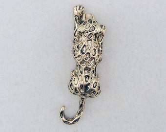 Antique Gold-tone Jaguar or Leopard with Black Rhinestone Eyes Pendant