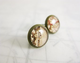 Cream Vintage Map stud earrings - 8mm small round bronze stud - white parchment resin jewelry - geography earrings - unisex