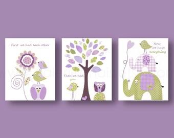 Baby girl nursery First we had each other quote Nursery Art Kids room decor purple green elephant owl tree bird flower - Set of three prints