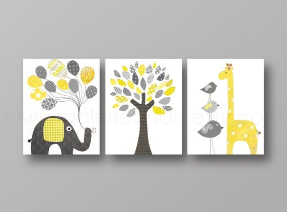 Yellow and gray nursery art baby nursery decor by galerieanais - Decoration chambre enfant ...