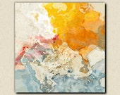 "Abstract  art stretched canvas print, 30x30 to 36x36 in orange and white, from abstract painting ""The Kiss"""