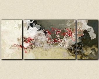 "Abstract expressionism canvas print, 30x72 to 40x90 triptych with gallery wrap in neutrals and red, from abstract painting ""Benediction"""