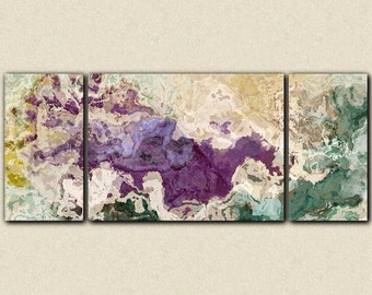 "Extra large abstract art triptych, 30x72 to 40x90 giclee canvas print, in purple and teal, from abstract painting ""Plum Creek"""