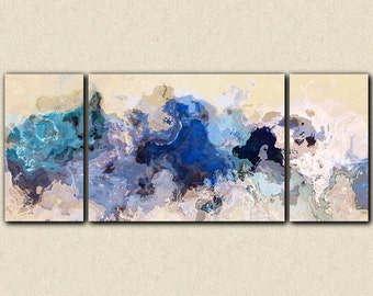 "Large abstract expressionism triptych canvas print, 30x72 to 40x90 giclee in blue, from abstract painting ""The Blues Sometimes"""