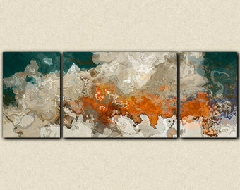 "Extra Large triptych abstract art 30x80 to 34x90 canvas print, in blue green, beige and orange, from abstract painting ""Le Hoogie Boogie"""
