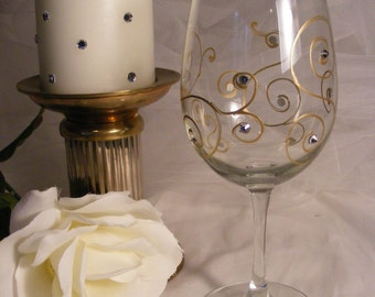 painted wine glass for Birthday, Bride or Maid of Honor or bridesmaid with gold scrolls and Swarovski crystals