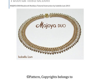 MAJOYA SuperDuo Beadwork Necklace tutorial instructions for personal use only