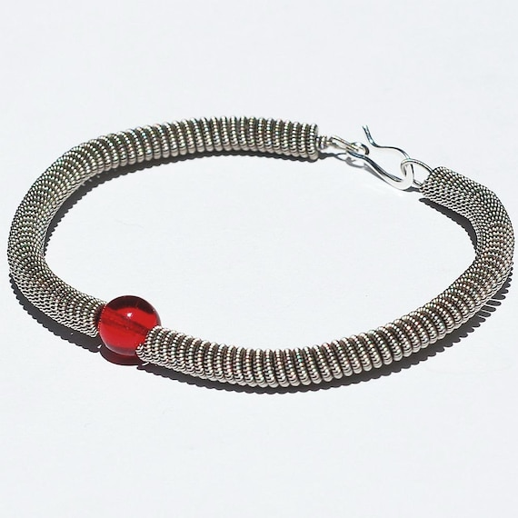 Guitar String Bracelet- Silver with Ruby Red Bead, Guitar String Jewelry, Music Jewelry, Gift for Guitar Player by Tanith Rohe