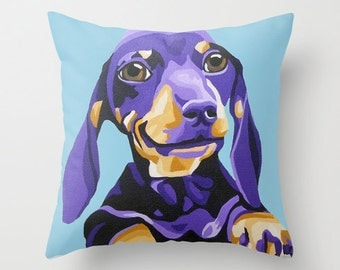 "16x16"" Indoor Throw Pillow Cushion Cover featuring an adorable Dachshund portrait"