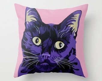 "16x16"" Throw Pillow Cushion Cover, pet portrait, black cat in purple"