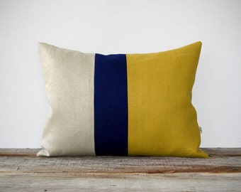 As seen in HGTV Magazine - Color Block Pillow Cover in Mustard Yellow, Navy & Natural Linen by JillianReneDecor Modern Home Decor Honey Gold
