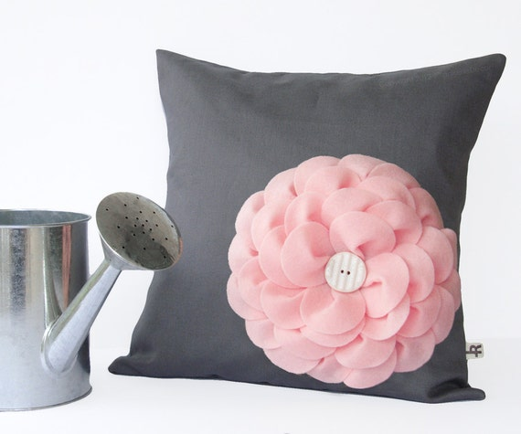 Pastel Pink Felt Flower Pillow In Charcoal Gray Linen With