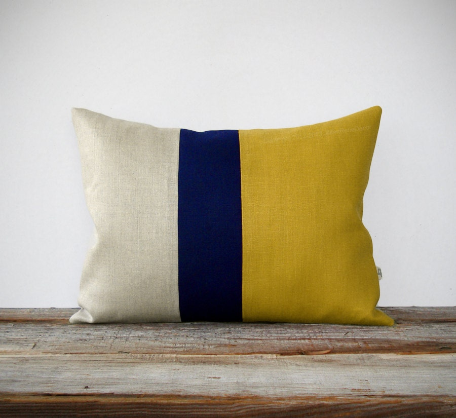 As Seen In Hgtv Magazine Color Block Pillow In Mustard