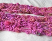 Pink Hand Knit Recycled Sari Silk Scarf