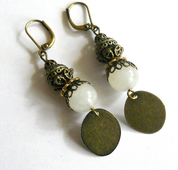 Earrings, White jade rustic gypsy dangle earrings, vintage inspired bohemian jewelry