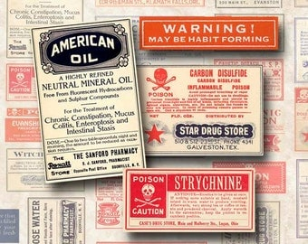 Digital Collage Sheet Vintage Pharmacy Drug and Poison Labels Instant Download SL103