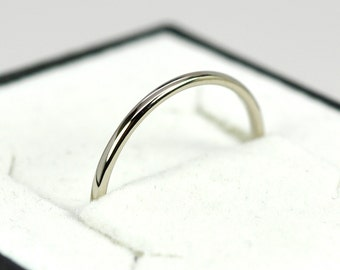 Skinny White Gold Ring, 1mm 14K Palladium White Gold Wedding Band or Simple Stacking Ring, Eco Friendly, Sea Babe Jewelry