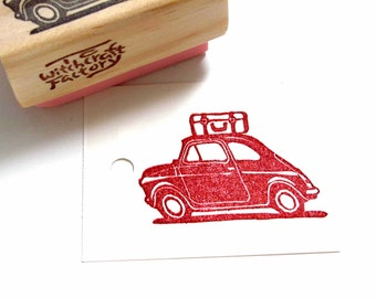 Road Trip Stamp, Hand Carved Rubber Stamp