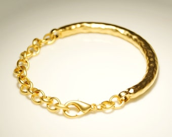 1 pc Matte Gold Plated Organic, Unique Bracelet Bar with chain and lobster-65x8mm (018-029GP)