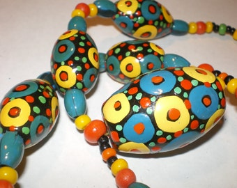 Vintage HAND PAINTED BEADS