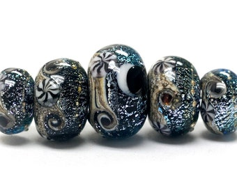 Handmade Glass  Lampwork Beads - Five Graduated Sable Celestial Rondelle Beads 10204811
