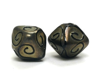 Glass Lampwork Bead Sets  - Five Golden Pearl Surface w/Black Swirl Bicone Beads 11204807